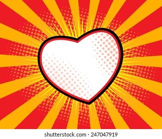 Heart Shape Comic Book ,Pop art Sunburst Background Vector Illustration