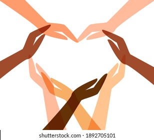 Heart shape created from human hands symbol. The concept of multiracial unity, cooperation, friendship, partnership, teamwork and charity.