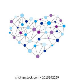 Heart shape created from lines and dots. Mathematical object or chemical structure. Science object for Valentines day.