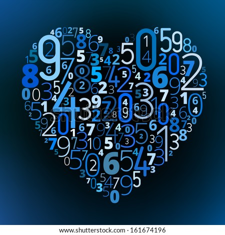 Heart Shape Different Numbers Vector Love Stock Vector Royalty Free