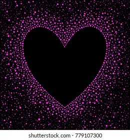Heart shape dot frame with empty space for your greetings. Uneven dots, spots, specks texture. Valentines day template made of hand drawn blobs of various size. Pink and black abstract background.