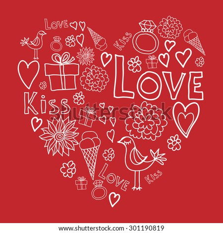Heart Shape Elements Symbols Valentines Day Stock Vector Royalty