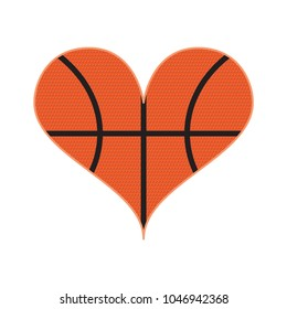 A heart shape filled with a basketball pattern