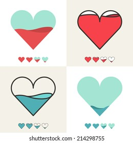 Heart shape with filling meter. Vector logo template.