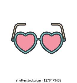 heart shape glasses icon flat color