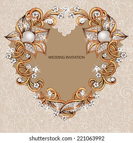 heart shape greeting card.Heart of gold.Heart from flowers.Wedding invitation.