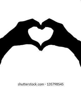 Heart shape hand gesture isolated on white