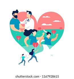Heart shape illustration, health medicine concept. People running for exercise awareness or sport event outdoors and doctor with patient on isolated background. EPS10 vector.