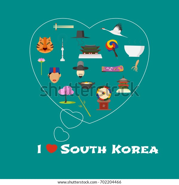 Heart shape illustration with I love South Korea quote. Korean landmarks, food, art vector icons. Travel to Korea concept banner