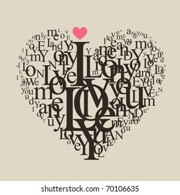 Heart shape from letters - typographic composition