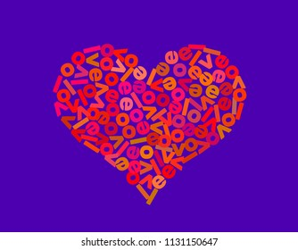 Heart shape from letters. Vector colorful illustration.
