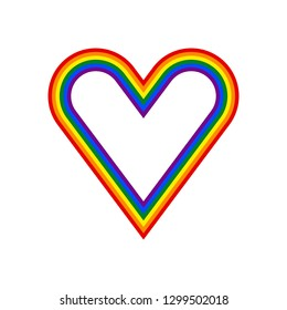 Heart shape LGBT rainbow pride flag symbol. The sign created for popularizing and support the LGBT community in social media. The design graphic element is saved as a vector illustration EPS file