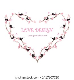 Heart shape loving design Lorem Ipsum background. Painting pink and black loving birds, blooming branches, hearts on white. Stock vector illustration for wedding design