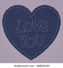 A heart shape made of blue denim jeans texture with a fancywork i love you. realistic vintage and retro material. perfect for valentines day and love declarations.
