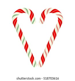 Heart shape made of candy canes, vector design