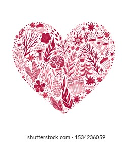 Heart shape made of forest doodles, herbs, flowers, trees. Valentine's day. Happy Valentine's day greeting card template with typography text in heart shape isolated on white background.