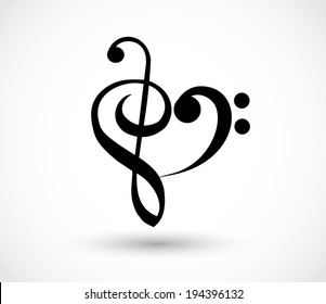 Heart shape made of G-clef, To love music sign. vector