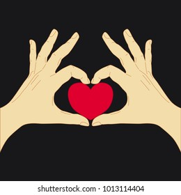 Heart shape made with hands. Vector illustration of hands with heart. Heart and hands. Love gesture.