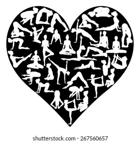 A heart shape made from silhouettes in yoga or pilates poses, concept for a love of the exercise or sport of yoga or pilates