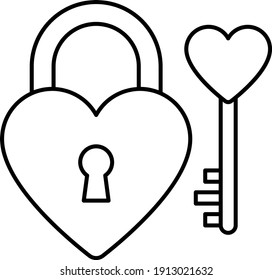 Heart Shape Padlock with Key Vector line Icon Design concept, Love Lock on White background, Valentine Day Symbol, Love and Romance Signs