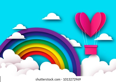 Heart shape Pink hot air balloon flying. Love in paper cut style. Origami Valentine day. Romantic Holidays. 14 February. Be my valentine. Blue sky with origami clouds and rainbow.