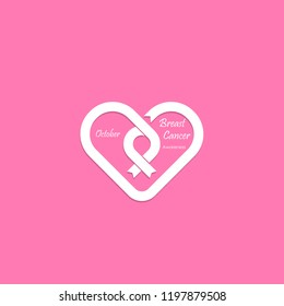 Heart shape & Pink Ribbon icon.Breast Cancer October Awareness Month Campaign banner.Women health concept.Breast cancer awareness month logo design.Realistic pink ribbon.Pink care logo.Vector