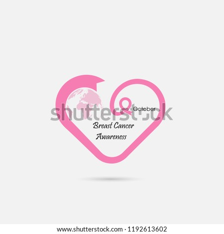 f538975127c Heart Shape Pink Ribbon Icon Breast Cancer Stock Vector (Royalty ...