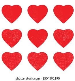 heart shape postal stamps set.illustration vector