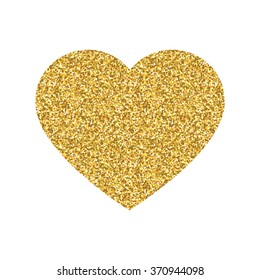 Heart shape print with gold glitter pattern. Good for use and design. Good for greeting card.