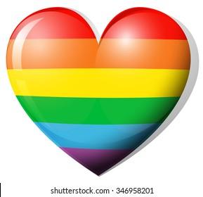 Heart shape in rainbow color illustration