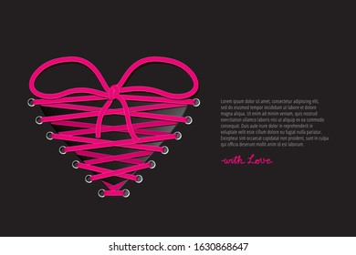 Heart Shape Realistic Glamorous Lacing Tied in Bow Symbolizing Love or Connection Between Two People Valentines Day Creative Concept - Pink on Black Background - Vector Gradient Graphic Design