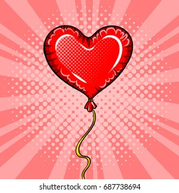 Heart shape red balloon pop art retro vector illustration. Comic book style imitation. Love symbol.
