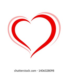 heart shape red isolated on white background, heart-shaped flat icon symbol, red heart shape for decoration valentine's card, heart shape for logo graphic design