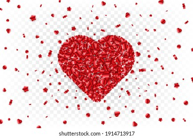 Heart shape red lollipops confetti. Scattered candy shapes on transparent background. Layered