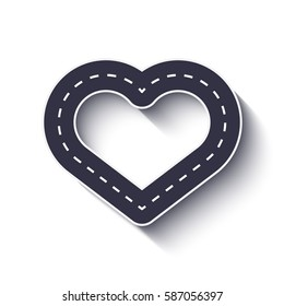 Heart shape road icon. Infographic template. Vector EPS 10