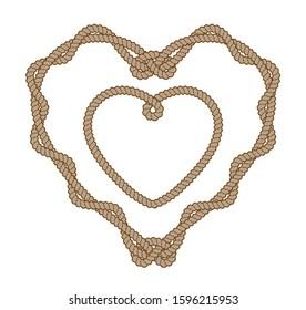 Heart shape rope frames. Monochrome vector illustration