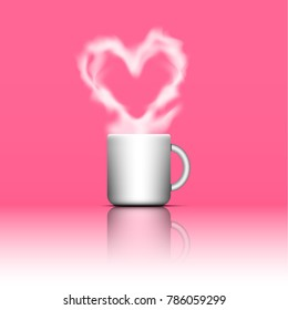 Heart Shape Smoke on White Coffee Cup with Reflex on Pink Background for Valentine's Day Vector Illustration