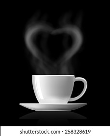 heart shape  with smoke over warm cup of coffee on black background
