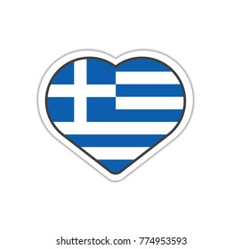 Heart shape sticker or label design for Greece flag. Illustration for greeting cards, posters, patches and prints for clothes, flyers, emblems