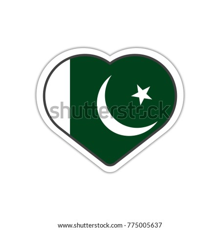 Heart shape sticker or label design for pakistan flag illustration for greeting cards posters