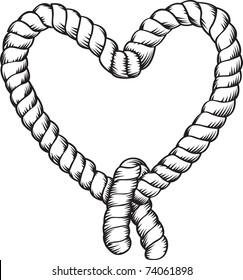 heart shape tied rope