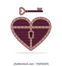Heart shape treasure box with a key
