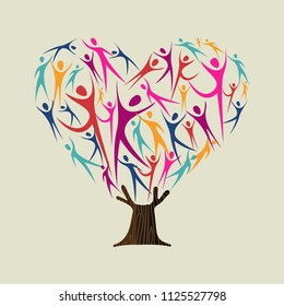 Heart shape tree made of colorful people silhouettes. Community help concept, diverse culture group or social project. EPS10 vector.