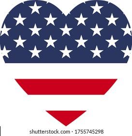 Heart shape of USA flag
