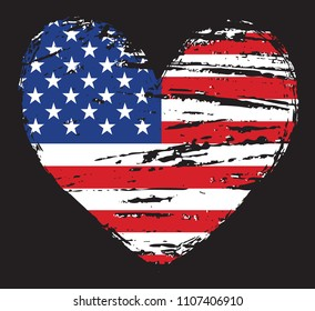 Heart shape with USA flag.Vector American flag in grunge style.