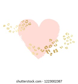 Heart shape vector background, brush illustration. Pink ink brush stroke with rich golden exotic leopard animal skin texture