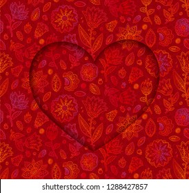 Heart shape vector frame on doodle flowers red background, Valentines day card vector template