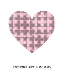 Heart shape vector with gingham / vichy check plaid pattern in pink and taupe isolated on white background.