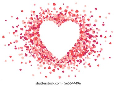 Heart shape vector pink confetti splash with white heart frame inside