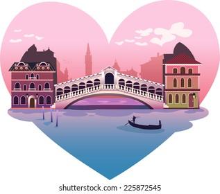 Heart shape venice scene background illustration